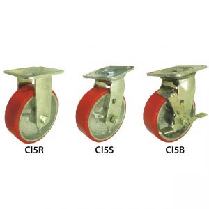 5 Inches Cast Iron Red Polyurethane (PU) Wheel Castor CI5RSB_resize